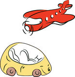 Plane and car. Just simply drawn plane and car Stock Photography