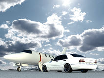 Plane and car. Cg jet plane and car Stock Photos