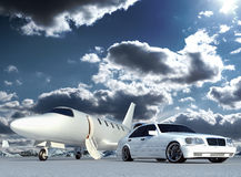 Plane and car. Cg jet plane and car Royalty Free Stock Photos