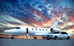 Plane and car. 3d jet plane and car Stock Photography