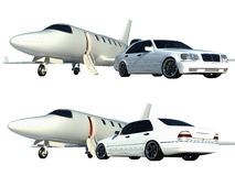 Plane and car isolated Royalty Free Stock Images