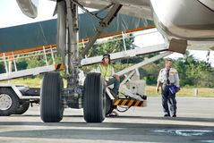 Plane cargo loading supervision Royalty Free Stock Photos