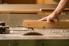 Plane. Carpenter work with a wood planer royalty free stock photography