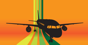 Plane with city background. Plane with orange city background Royalty Free Stock Photo
