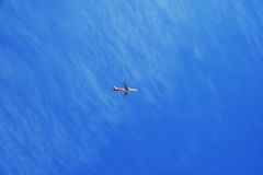The plane on clear blue sky Stock Photography