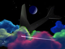 Plane in clouds vector illustration