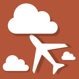 Plane with clouds Royalty Free Stock Photos