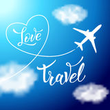 Plane in the clouds and original handwritten text Love Travel Royalty Free Stock Photo