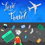 Plane in the clouds and original handwritten text Love Travel Royalty Free Stock Image