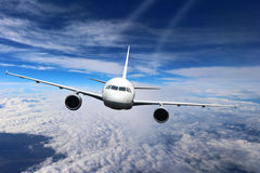 Plane clouds on the plane nature background blue Royalty Free Stock Photo