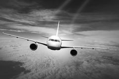 Plane clouds on the plane nature background blue Stock Photos