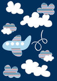 Plane in clouds. Vector illustration of a cute plane flying through the clouds Royalty Free Stock Images