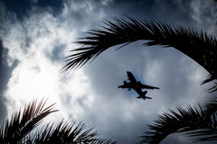 The plane in the cloudy sky. Royalty Free Stock Photography