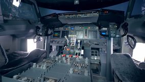 An empty cockpit of airplane. Plane cockpit of a flight simulator stock video footage