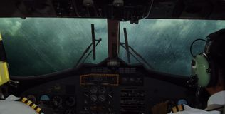 Plane, Cockpit In Dramatic Stormy Clouds. Stock Photography