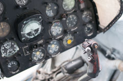 Plane cockpit, old aircraft Stock Image