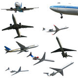 Plane collection isolated on a white background. stock image