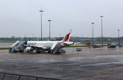 The plane at Colombo airport, preparing to fly Stock Images