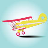 Plane. Colorful travel plane is landing from the blue sky Royalty Free Stock Images