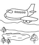 Plane coloring page. Hand drawn big plane coloring page for kids Stock Photos