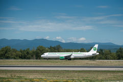 Plane of the company Germania rolling on the runway. BASEL - Switzerland - 29 July 2017 - Plane of the company Germania rolling on the runway Royalty Free Stock Image