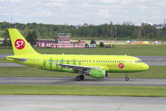 The plane of the company S7 Siberia Airlines Airbus A319 (VP-BHP) on a taxiway. Pulkovo, St. Petersburg Royalty Free Stock Photography