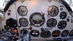 Control panel on board the aircraft view. Plane control panel on board view in pilots cabin stock footage