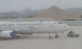 Plane covered by volcanic ash from mount kelud eruption Royalty Free Stock Photo