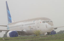 Plane covered by volcanic ash from mount kelud eruption Stock Photography