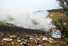 Plane Crash. The smoking debris of a plane crash Stock Image