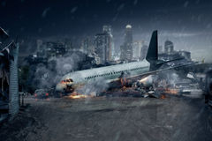 Plane crash, crashed airplane, air accident. Plane crash, remains of a crashed passenger airplane, air accident stock image