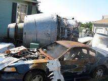 Plane crash. Destroys residential area Stock Photography