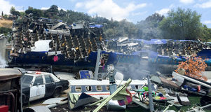 Plane Crash Disaster Movie Set. California USA Royalty Free Stock Image