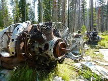 Plane crash near Loon Lake. Plane wreckage from a plane crash many years ago on the West side of Loon Lake, Idaho Stock Photos