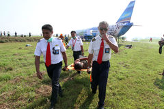 Plane crash simulation. Airport officials were practicing facing plane crash in Boyolali, Central Java, Indonesia Stock Image