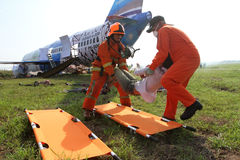 Plane crash simulation. Airport officials were practicing facing plane crash in Boyolali, Central Java, Indonesia Royalty Free Stock Photos