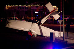 Plane Crash in Tallahassee, FL. Photo of a small plane which crashed in Tallahassee, FL on the night of February 8th, 2008.  Remarkably, the pilot suffered only Royalty Free Stock Images