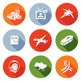 Plane Crash in a war zone Icons Set. Vector Illustration. Royalty Free Stock Photography