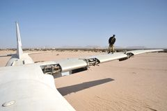 The plane crashed at the airport of the Berbera Royalty Free Stock Photography