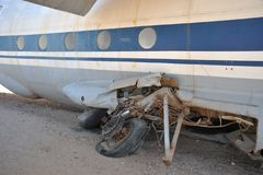 The plane crashed at the airport of the Berbera Stock Photos
