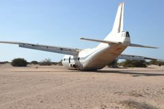 The plane crashed. Нard landing of the aircraft Stock Photography