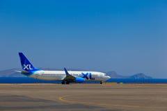 Plane in Crete airport Stock Photos