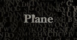 Plane - 3D rendered metallic typeset headline illustration. Can be used for an online banner ad or a print postcard Stock Image