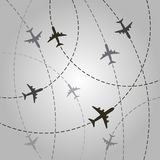 Plane with dashed path lines. airplane flight route royalty free stock photography