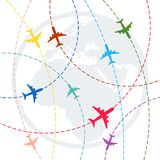 Plane with dashed path lines. airplane flight route royalty free stock image