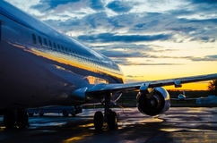 Plane at dawn in the shade before sunrise. Plane at dawn the shade before sunrise Stock Photography