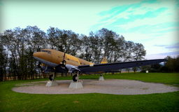 Plane DC-3. Flight DC-3, also known as Dakota is located near the village of Island. It was raised in 1984 to commemorate the wartime period, when the Allies Royalty Free Stock Image