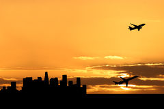 Plane departing Los Angeles Royalty Free Stock Photos
