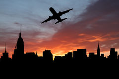 Plane departing Manhattan Stock Photo