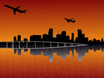Plane departing Miami Stock Photography